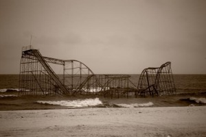 The Piers collapsed during Hurricane Sandy and the Roller Coaster was dropped into the sea